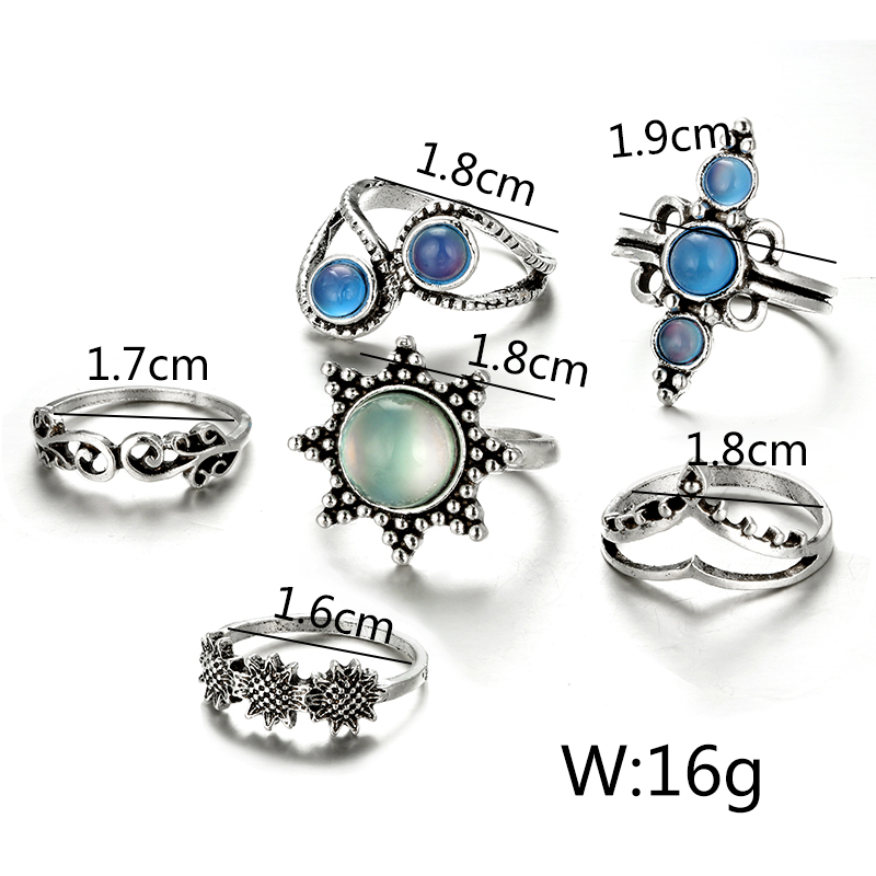 HuaTang Bohemian Antique Silver Ring Geometric Elephant Flower Green Rhinestone Knuckle Rings Midi Finger Anel Rings Jewelry 81