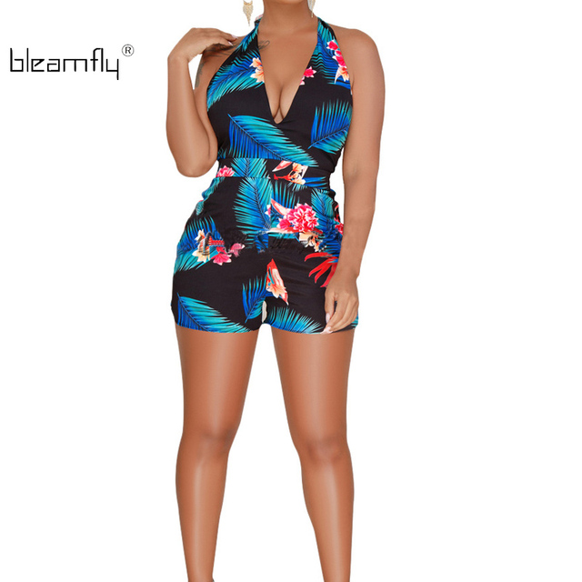 5ad597528b4 2018 Summer Sexy V-Neck Backless Jumpsuit Rompers Sleeveless Halter Floral  Printed Short Playsuit Bodycon Boho Overalls