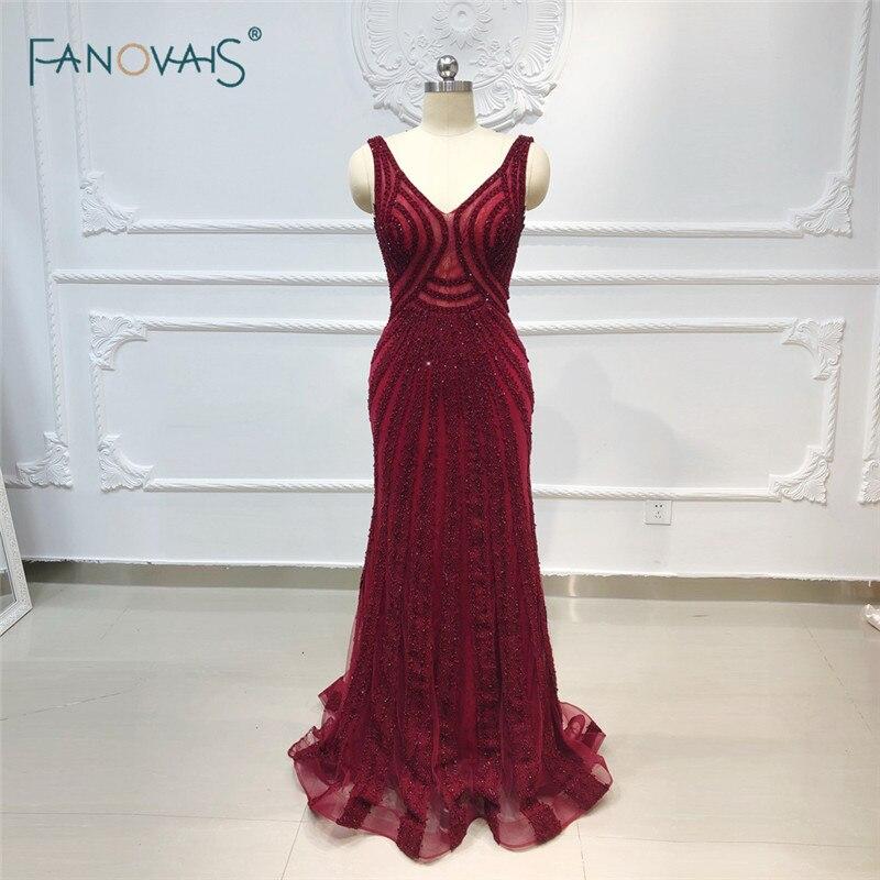 Burgundy Mermaid   Evening     Dresses   2019 V Neck Luxury Crystal Formal   Evening   Gown Long Prom Party   Dress   Vestido de Fiesta NE54