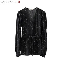 A Forever 2018 Spring Autumn Women S V Neck Polka Dots Print Long Shirts The Bow