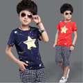 2015 new summer 4-13Y boys casual letters plaid sports clothing sets children active stars t-shirt capris kids clothes suits