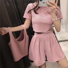 Two Piece Set Pink Outfit Tops and Pants Loose Biker Shorts + Sports T-shirt 3 Tracksuit Summer Clothes for Women
