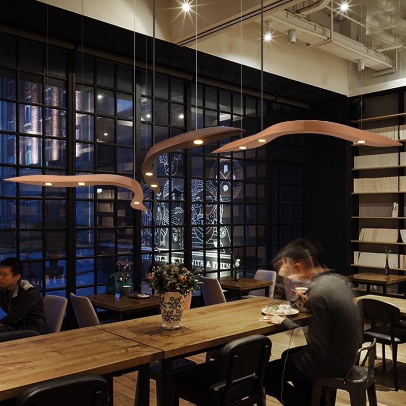 Us 218 0 Suspension Leuchte Led Anhanger Licht Moderne Einfache Kunst Restaurant Massivholz Gebogen Wohnzimmer Hanglamp Abajur Leuchte In