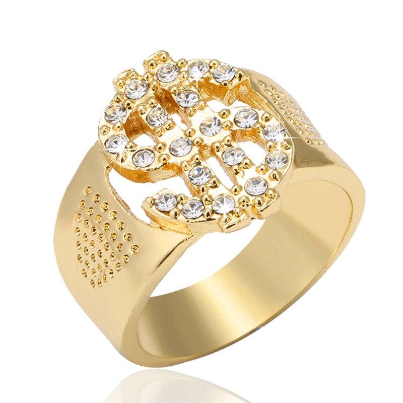 Модные мужские кольца со сверкающими камнями золотого цвета, со знаком доллара США, кольца Signets для Мужчин, Ювелирные изделия в стиле хип-хоп...
