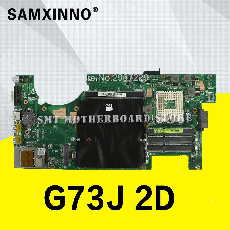 For Asus G73JW G73 G73J REV2.0 2D Connector 4RAM Solts 60-N0UMB1200-A02 Laptop Motherboard System Board Main Board Mainboar S-6 g73sw for asus motherboard rev2 0 hm65 4ram slots 3d connector 90r n3imb1000y mainboard full test
