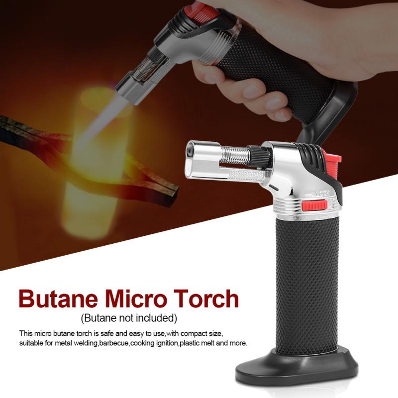 1pcs Adjustable Flame Butane Micro Torch Refillable Gas Cigar Lighter Ignition Blow Torch For Outdoor Barbecue Soldering Torch butane torch