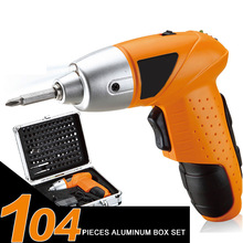 Tools - Hand Tools - 4.8V Speed Rechargeable Lithium Battery Hand Electrical Drill Charger Cordless Screw Driver Electric Screwdriver Set 104 In 1