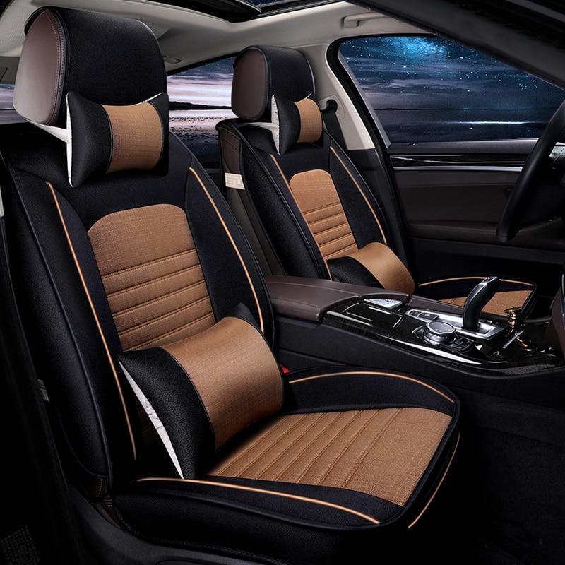 Лен автокресла охватывает дышащая автомобили сиденья чехлы Коричневый и серый цвет красный автомобиль аксессуары для интерьера