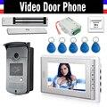 """7 """"экран Видео-Телефон Двери Домофон 1 Монитор + RFID Доступа Водонепроницаемая Камера + 180 кг Магнитный Замок + Дверь выход"""