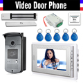 "7"" Screen Video Door Phone Intercom 1 Monitor + RFID Access Camera Waterproof + 180kg Electric Magnetic Lock+ Door Exit"