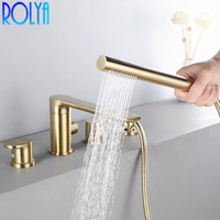 Rolya Burnish Golden Roman Tub Trim Bathtub Faucet Bathing Shower Mixer Filler Tap Solid Brass New Arrival