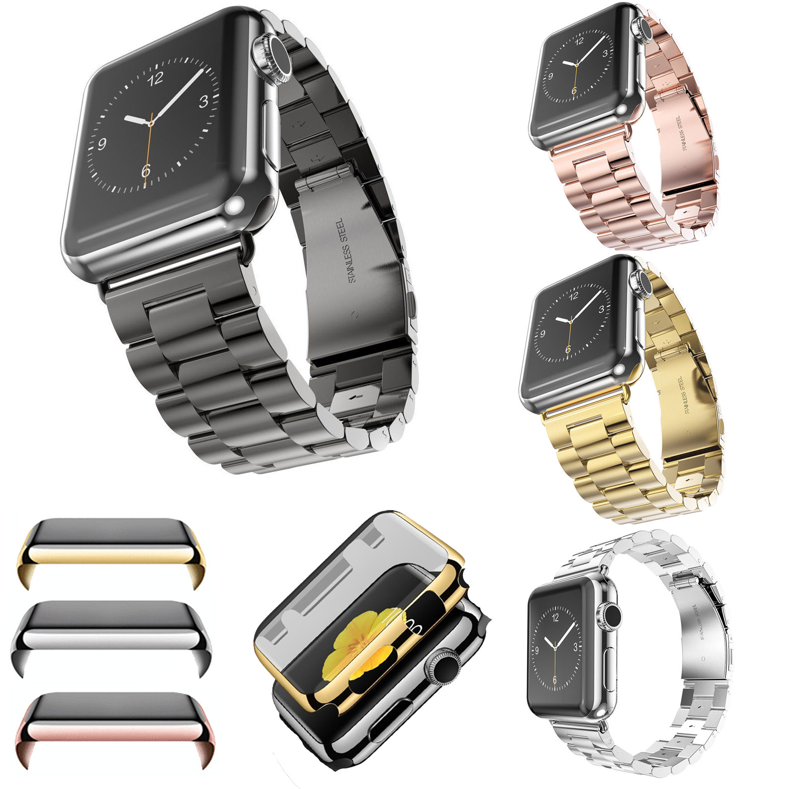 316l Stainless Steel Strap For Apple Watch Series 2 Screen Film Alumunium Sport 42mm Smartwatch Rosegold Protector Gold Plating Cover Case W Band Iwatch 2nd In Watchbands From Watches On