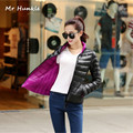 Women duck down Jacket Reversible two sided wear Ultra Light Duck Down Jacket winter coat 2 colors in 1 coat Plus Size XXXL
