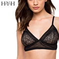 HYH HAOYIHUI New Fashion Women Romantic Push Up Plunge Sexy Bralette Lace Trim Adjustable Straps Solid Black Lace Jacquard Bra