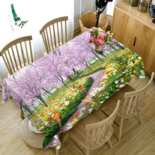 Rural style 3d Round Tablecloth Pink Cherry Blossom Pattern Thicken Cotton Rectangular Table cloth Waterproof cover Home
