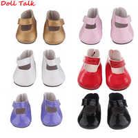 Zapatos de muñeca de 18 pulgadas zapatos de muñeca de cuero PU americano aptos para muñeca de 43 cm 7cm blanco pequeños zapatos frescos para muñeca BJD blyth 1/3