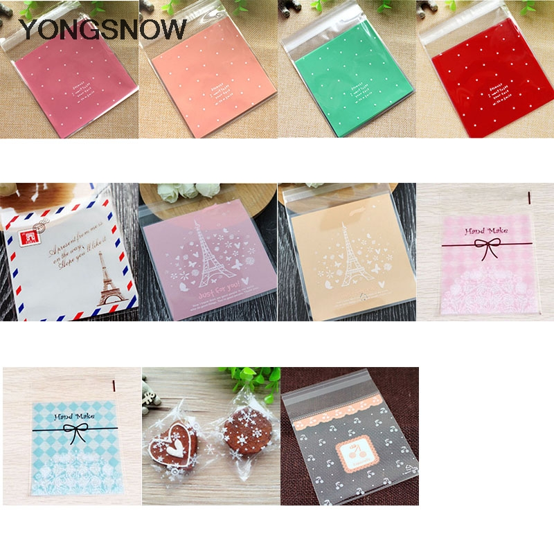50pcs Christmas Decorations 10*10cm Plastic Bags OPP Bags Snack Food Cookie Bags Wedding Decor Gift Packing Party Supplies