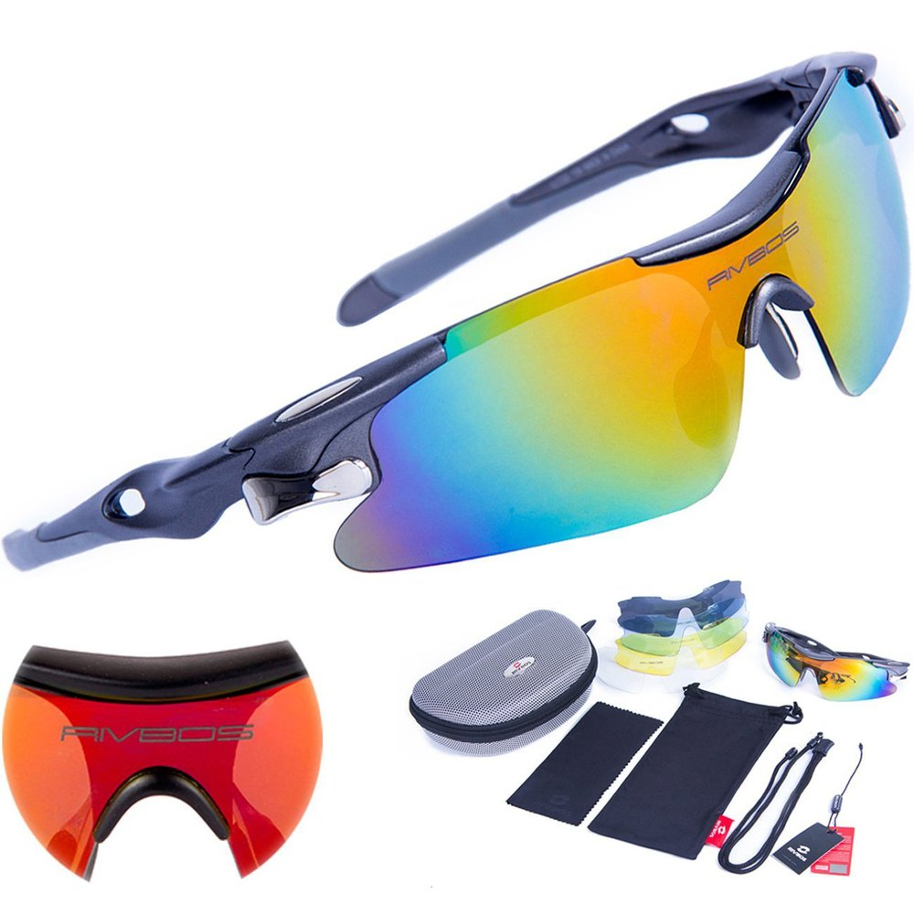 XINTOWN Radfahren Unisex 5 Wechselobjektive Schutzbrillen -Fahrrad-Gläser Zyklus polarisiertem UV-Winddichtes Bike Cycling Sonnenbrille mit Weiß Rote vdaynoTL