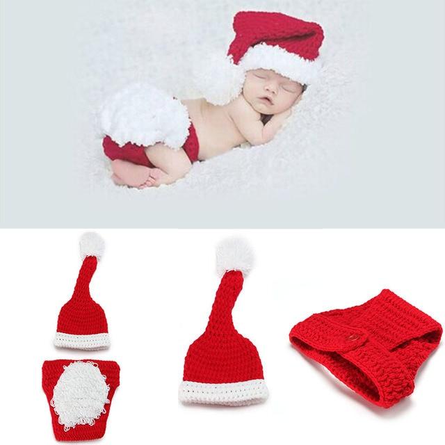 Neugeborenen Fotografie Requisiten Häkeln Kleidung Set Weihnachten