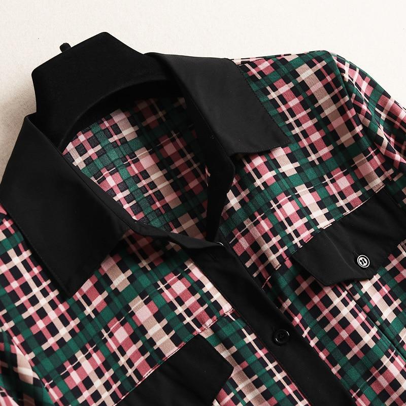 Robes Plaid Manches À Longues En Robe 50281 Nouvelles D'été Vintage 2019 Vêtements Moitié Femmes Multi Des Pour Shuchan Décontractées qwSvn