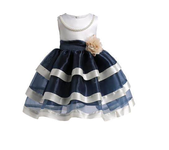 Girls Formal Dress 2018 Summer Pearl Flower Princess Dresses Tiered Gauze Kids Party tutu Dress Children's Vest Dress Blue 10T pearl beading eyelet embroidered cuff tiered dress