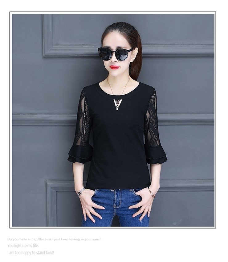 Women Blouse Summer Tops 2018 New Arrival Patchwork Blusas Mujer Lace Flare Sleeve Female Shirts Khaki Green Yellow  (14)