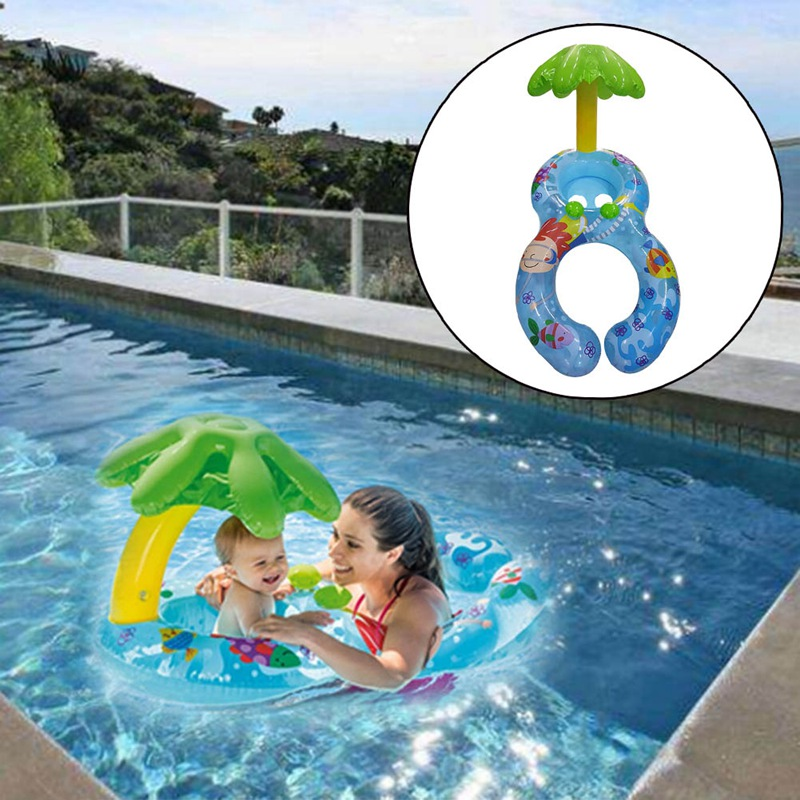 Baby Inflatable Swimming Infant Pool Float Inflatable Coconut Tree Seat Inflatable Swimming Baby Float With Parents casual men s coconut tree printed boardshorts