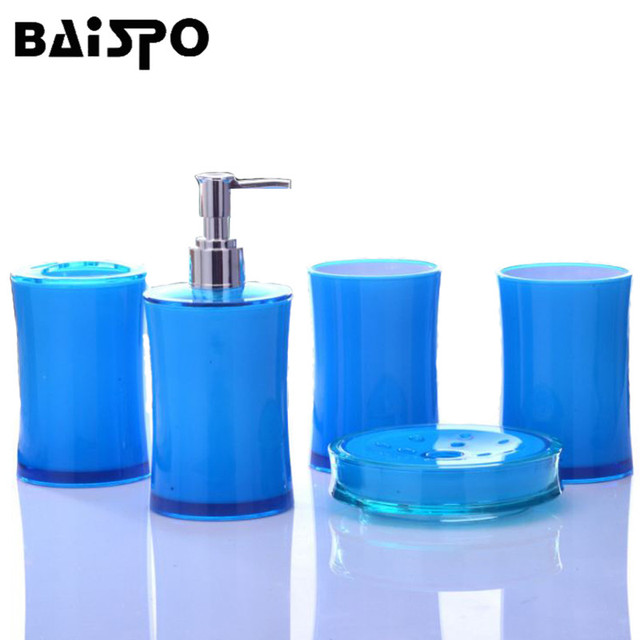 BAISPO Bathroom Accessories Set 5 Pcs Bath Set Gift Inlcude Toothbrush Holder Set Two Tumbler And Soap Dispenser