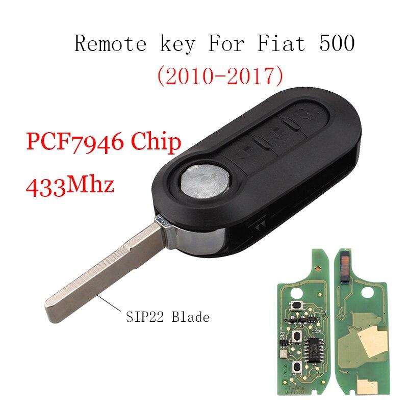 3 boutons Transpondeur Puce ID46/PCF7946 clé À Distance Pour FIAT 500 Doblo Fiorino Grande Punto Evo Qubo 433 mhz clé d'origine