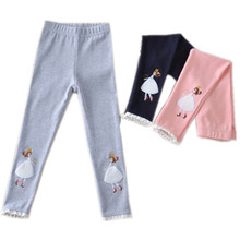 kids girls lace trim princess cotton causal skinny leggings children fashion spring summer autumn 3-color leggings 4 -11T
