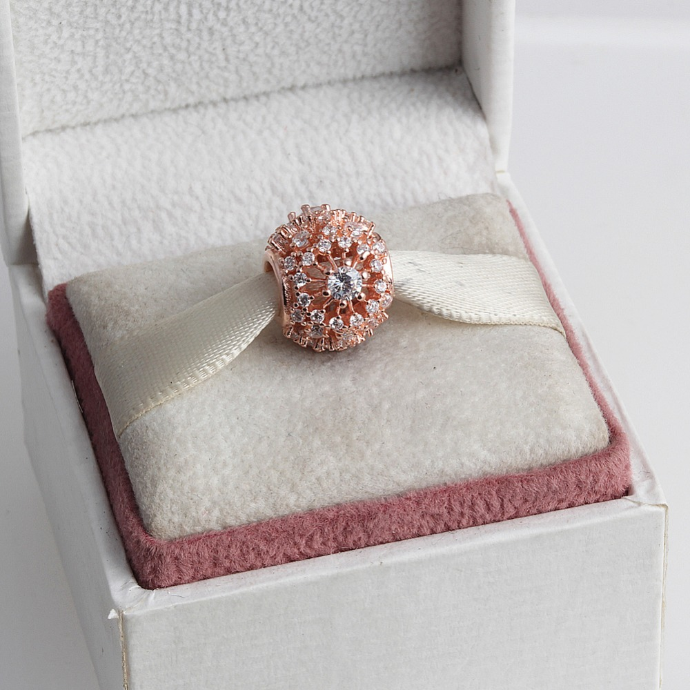 ZMZY 925 Sterling Silver Charm Inner Radiance Rose Gold Clear CZ Sunburst Pattern Beads Fit Pandora