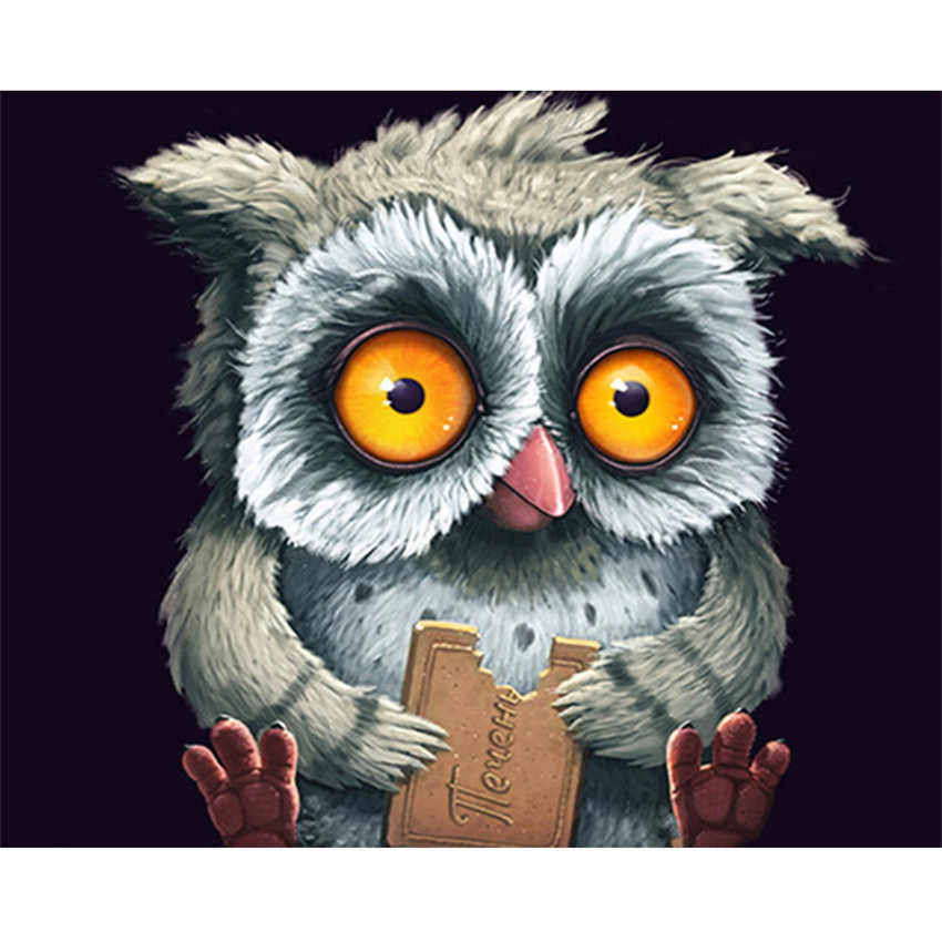 DIY Digital Painting By Numbers Package Wide-eyed owl oil painting mural Kits Coloring Wall Art Picture Gift frameless