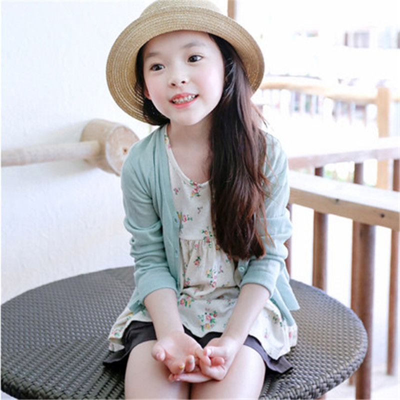 8f68ce4ea90 2018 Girls Cardigan Sweaters Spring Summer Solid Color Cotton Baby Girl  Sweater Kids Knitted Clothing Cardigan