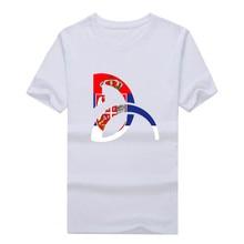 2016 Novak Djokovic D logo with Serbia flag T-shirt 100% cotton super star t shirt 10141203