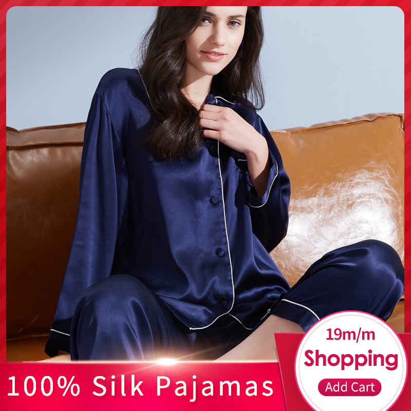 Women 100 Real Silk Pajamas Set 2019 Solid Nightgown Pyjama Femme Sleep Lounge Bedgown Silk Girls