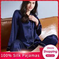 Women 100% Real Silk Pajamas Set 2019 Solid Nightgown Pyjama Femme Sleep Lounge Bedgown Silk Girls 19 m/m Silk Sleepwear Suits