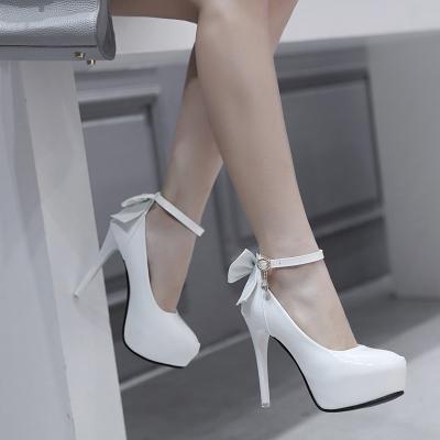 Women's high heels ultimate sexy high heel waterproof platform 16cm high heel single shoes women's wedding shoes white.