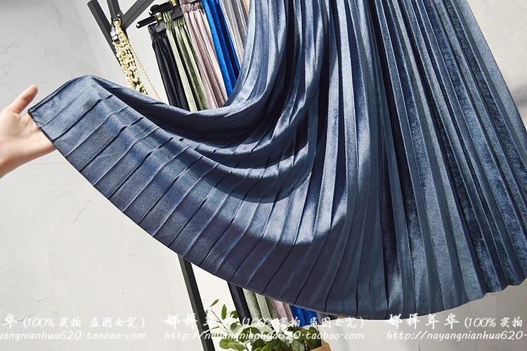 Gradient Velvet Pleated Skirts Women 75CM Autumn Winter Midi Long Korean  Elegant High Waist A-line School Skirt Female