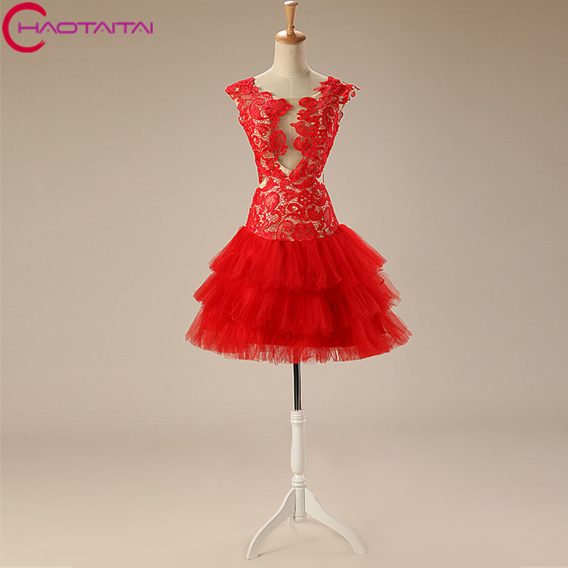 Sexy Christmas Cocktail Dresses 2018 with Tiered Skirt for Girls ...