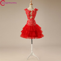 Sexy Christmas Cocktail Dresses 2018 With Tiered Skirt For Girls Party Prom Gownlace Green Color Party