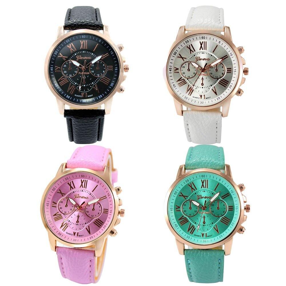 Wrist Watches For Women Fashion Clock Roman Numerals Faux ...