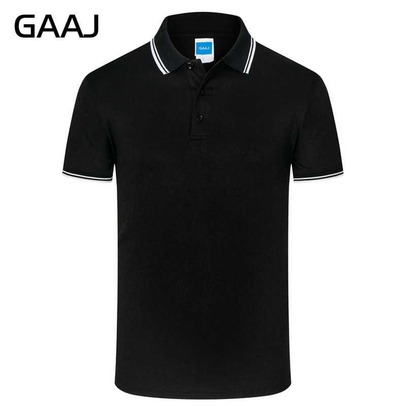 GAAJ Mens Polo Camisas Dos Homens Plus Size 4XL Homem Moda Polos Marca Algodão de Manga Curta Sólida Tarja Verão Tee Branco camisa 9EO9 #