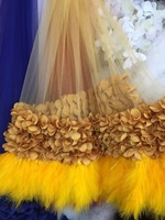 10 yards yellow 3D flowers bridal lace fabric for haute couture dress with 3D flowers and feathers