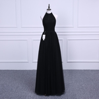 Vestidos 2018 Beach Maid of Honor Pleat black Tull Bridesmaid Dress Long Floor Length Bohemian Formal Sexy Party Gowns