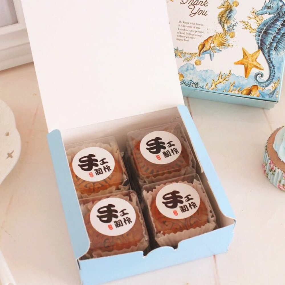 50pcs Blue Thank You Ocean Design Cheese Cake Paper Box Cookie Premium Blueberry 20cm Container Gift Packaging Ox Wedding For Guest In Bags Wrapping Supplies From