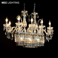 Luxurious K9 Clear Crystal Rectangle Chandelier Lighting Glass Hanging Lustre with 13 lights Chandelier Drop Lamparas for Hotel