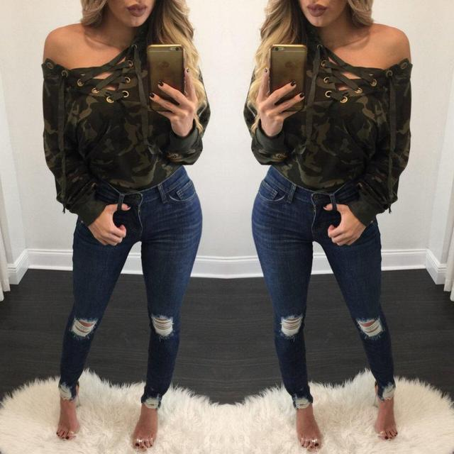 2017 new sexy Net green sweatshirt v-neck strap cross-loose shirt women camouflage hollow out