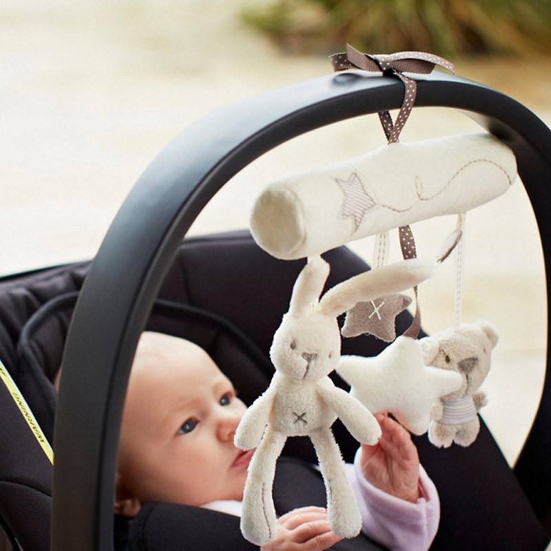 Cute Rabbit baby music hanging bed safety seat plush toy Hand Bell Multifunctional Plush Toy Stroller Mobile Gifts  FJ88