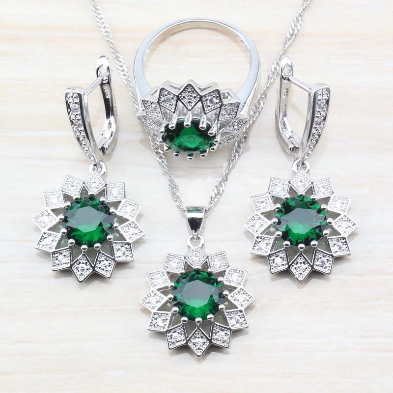 2019 Mode 925 Sterling Silber Schmuck Sets Marvelous Blume Form Grün Weiß Zirkon Ohrringe Anhänger Halskette Ring Größe 6/7/ 8/9/10 Sparen Sie 50-70%