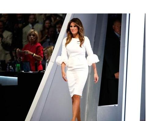 Melania Trump Little White Dresses Celebrity Dresses Baloon Sleeves And Back Split Knee Length Celebrity Gowns